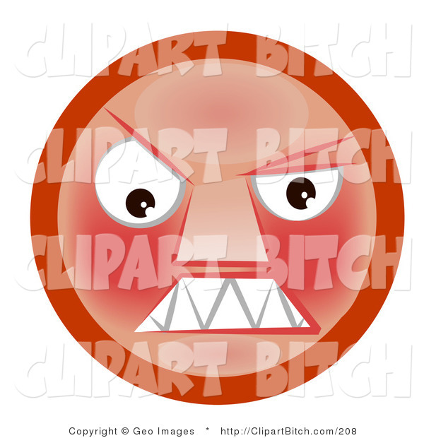 Clip Art of a Mad Red Faced Smiley Clenching Its Sharp Teeth