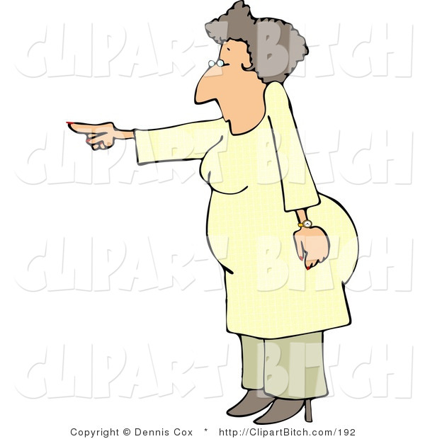 Clip Art of a Mad Woman Pointing Her Finger at Someone