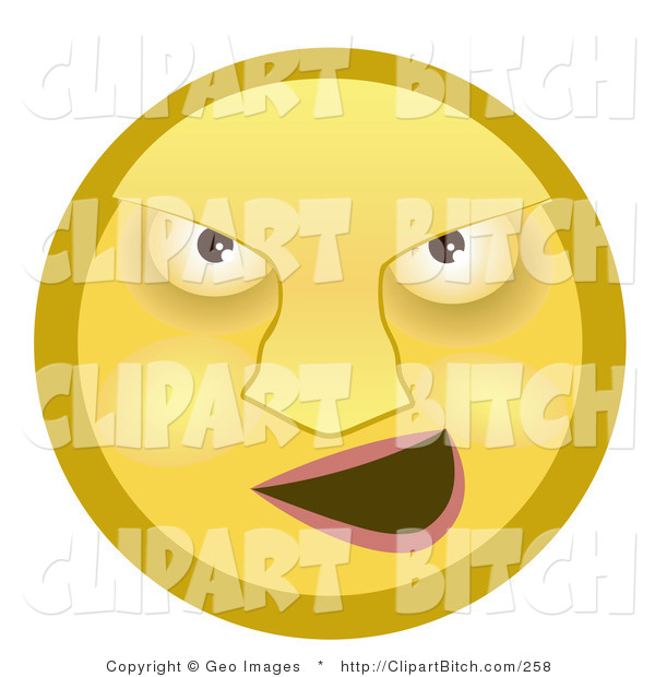 Clip Art of a Mean Yellow Smiley Face Bully Grinning at His Prey