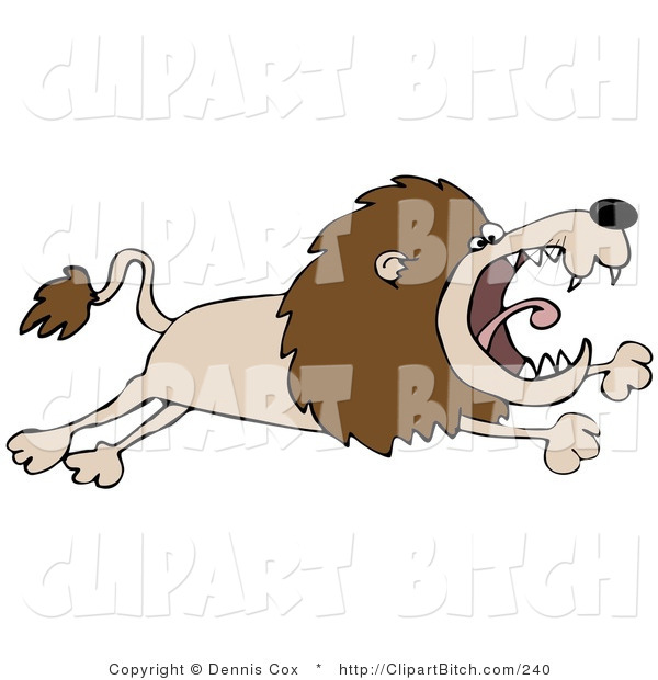 Clip Art of a Pissed Lion Leaping Right