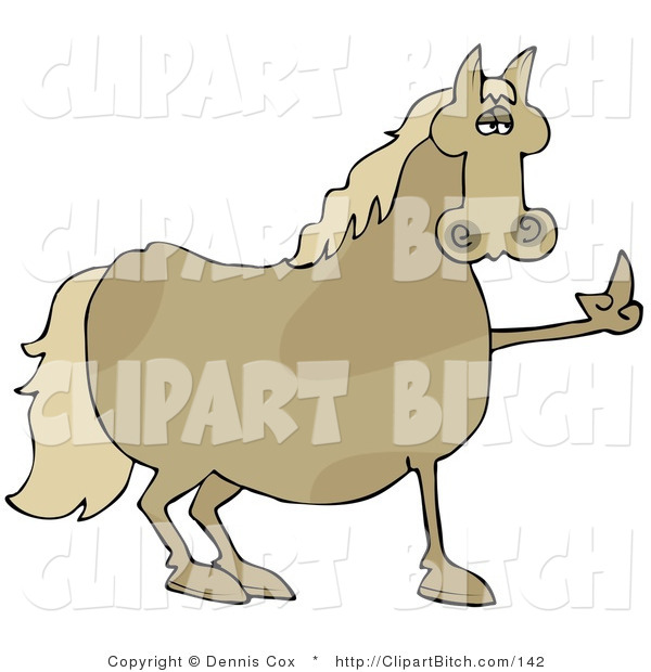 Clip Art of a Pissed off Brown Horse Flipping off a Farmer After Not Being Fed His Oats