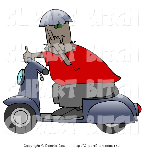 Clip Art of a Rude African American Man Wearing a Blue Helmet, Red Shirt and Brown Pants, Riding past on a Blue Scooter and Flipping the Viewer off