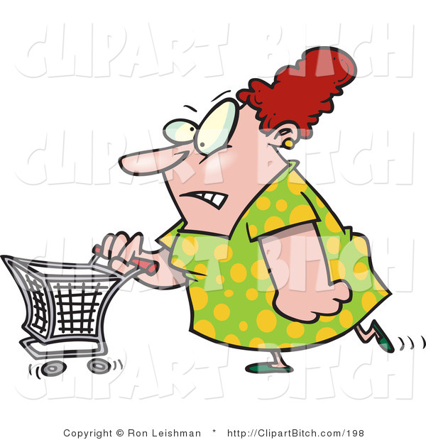 Clip Art of a Stressed out Wife Pushing a Shopping Cart