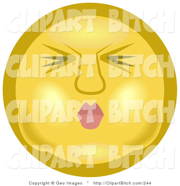 Clip Art of a Yellow Smiley Face Puckering Its Lips and Holding Its Breath in Its Cheeks Before Going Under the Water