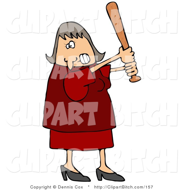 Clip Art of an Angry Caucasian Female in a Red Dress and Heels, Swinging a Wooden Baseball Bat After Someone Really Ticked Her off