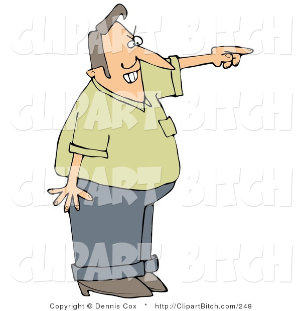 Clip Art of an Angry Man Pointing and Shouting and Asking a Tresspasser to Leave His Private Property