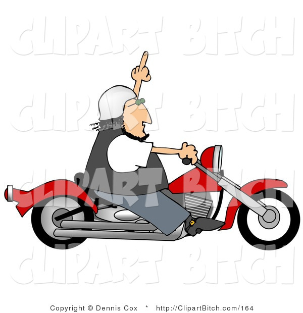 Clip Art of an Angry White Biker Man, Riding a Red Motorcycle and Flipping Someone off Who Doesn't Know How to Drive