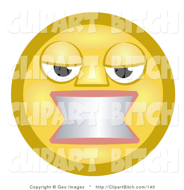 Clip Art of an Angry Yellow Smiley Face Woman Gritting Her Teeth in Anger