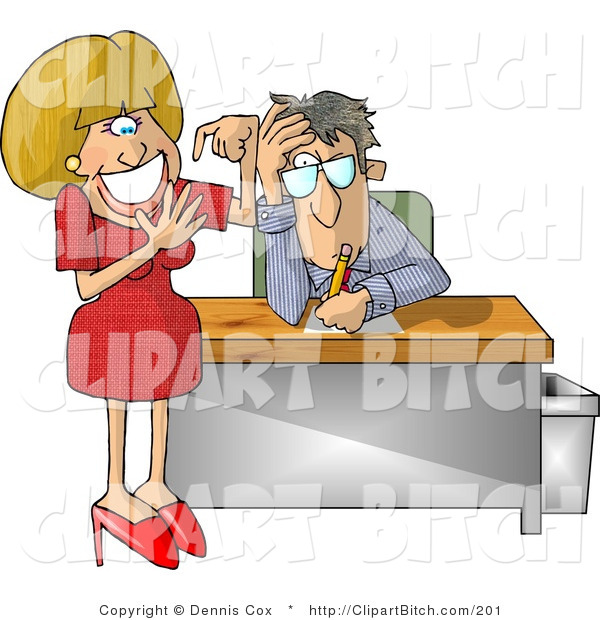 Clip Art of an Annoyed Businessman with a Dumb Blond Secretary Counting Her Fingers