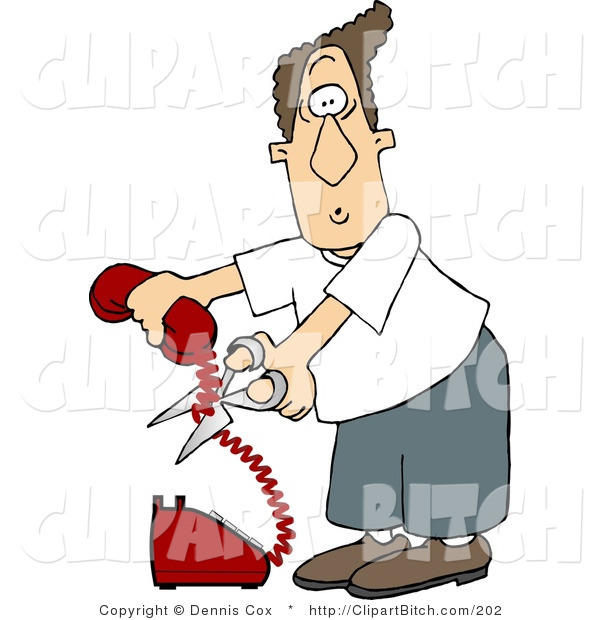 Clip Art of an Annoyed Man Cutting the Phone Cord
