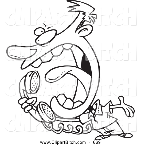 Clip Cartoon Art of a Angry Man Screaming into a Telephone