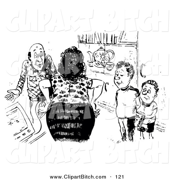 Clip Cartoon Art of a Black and White Sketch of a Mad Woman Lecturing Her Sons and Husband with Hands on Hips