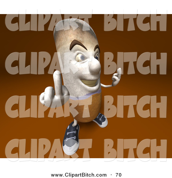 Clip Vector Art of a 3d Cigarette Character Holding up His Middle Finger and Facing to the Right