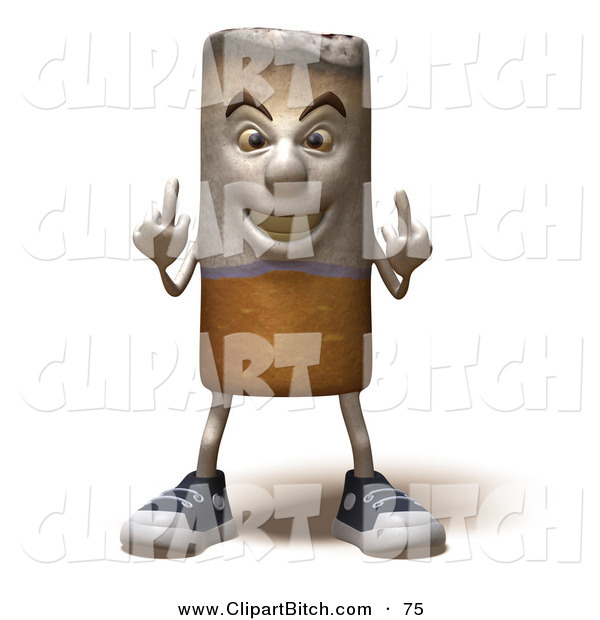 Clip Vector Art of a 3d Cigarette Character Holding up His Middle Finger in a Rude Gesture