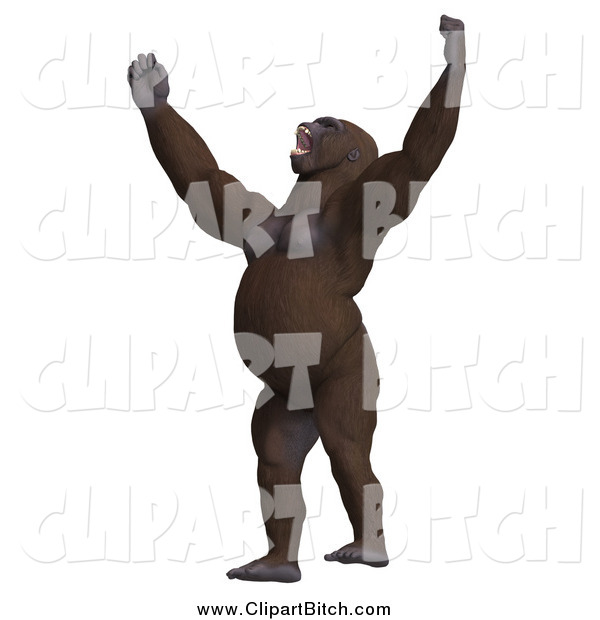 Clip Vector Art of a 3d Gorilla Screaming Upwards