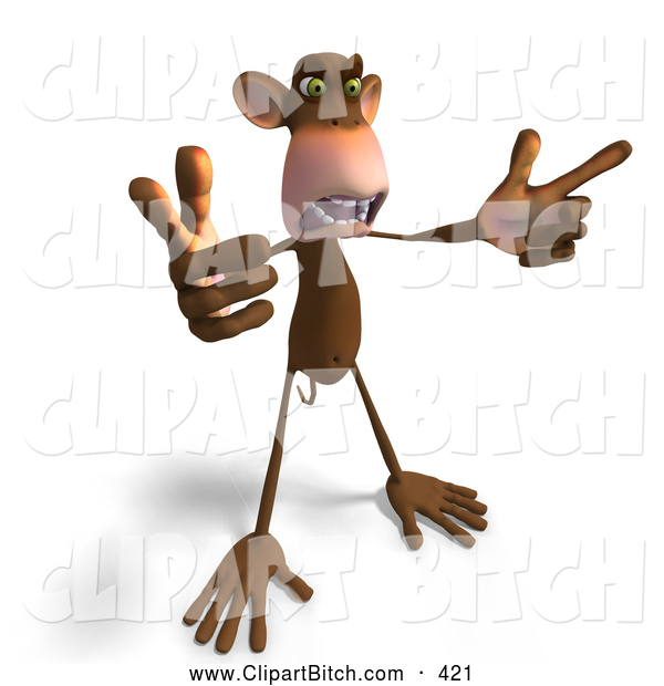 Clip Vector Art of a 3d Mad Monkey Gesturing