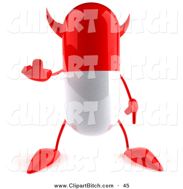 Clip Vector Art of a 3d Red Pill Character Holding up His Middle Finger in a Rude Gesture