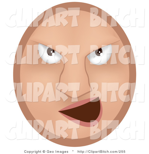 Clip Vector Art of a Beige Mean Emoticon Face Bully Grinning at Someone
