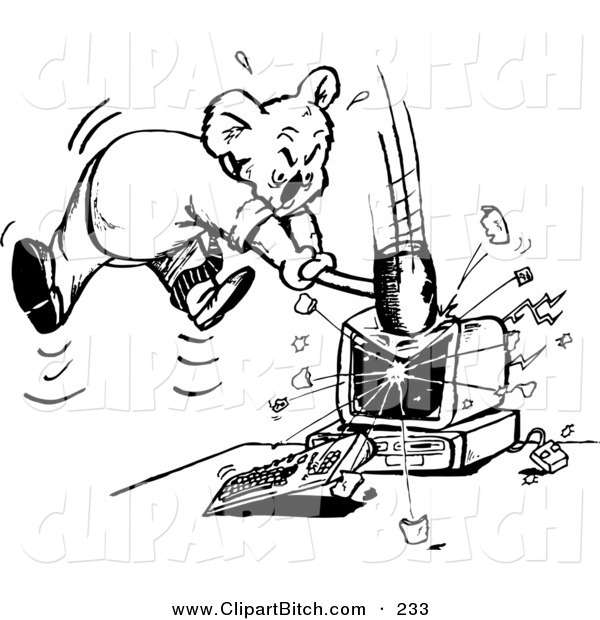 Clip Vector Art of a Black and White Outline of a Mad Koala Smashing a ComputerBlack and White Outline of a Mad Koala Smashing a Computer