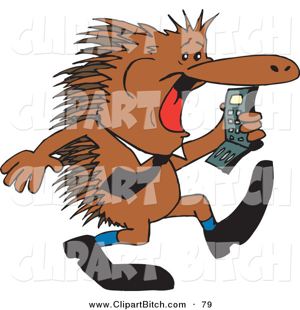 Clip Vector Art of a Brown Business Echidna Screaming at a Cell Phone