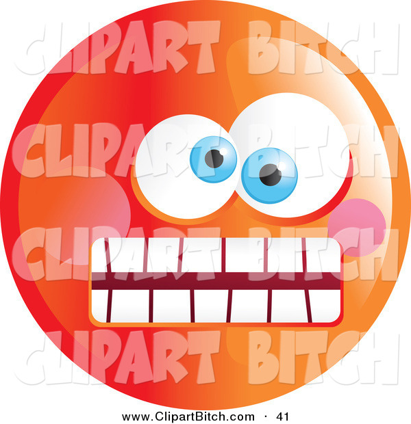 Clip Vector Art of a Crazy Mad Orange Emoticon Face and Weird Eyes