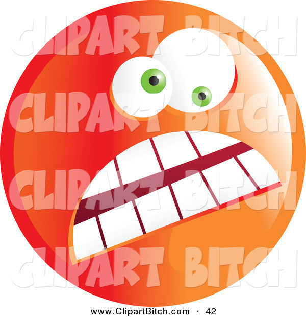 Clip Vector Art of a Crazy Mad Orange Emoticon Face with a Frown and Wide Eyes