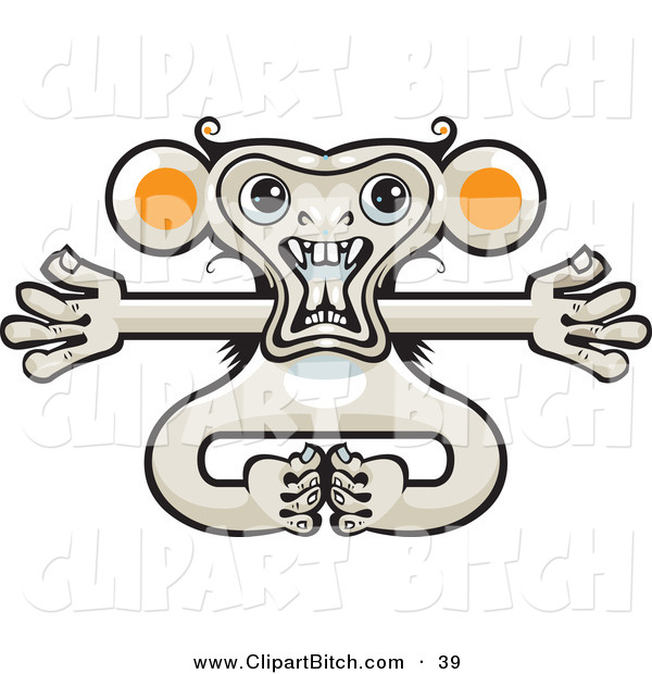 Clip Vector Art of a Crazy Monkey with His Arms out