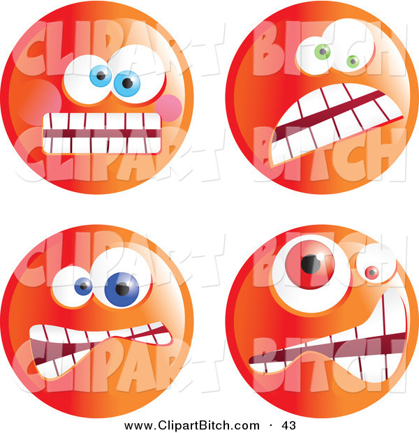Clip Vector Art of a Digital Set of Four Crazy Mad Orange Emoticon Faces