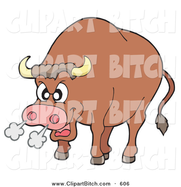 Clip Vector Art of a Furious Bull Blowing Smoke out of His Nose on White