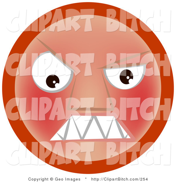 Clip Vector Art of a Furious Red Emoticon Face Baring Its Sharp Fangs or Teeth