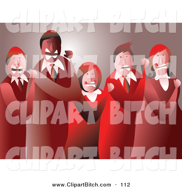 Clip Vector Art of a Group of Mad Business Team Clenching Their Fists
