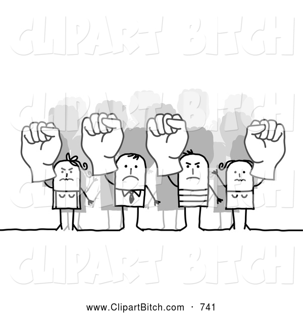 Clip Vector Art of a Group of Mad Stick People Holding up Fists