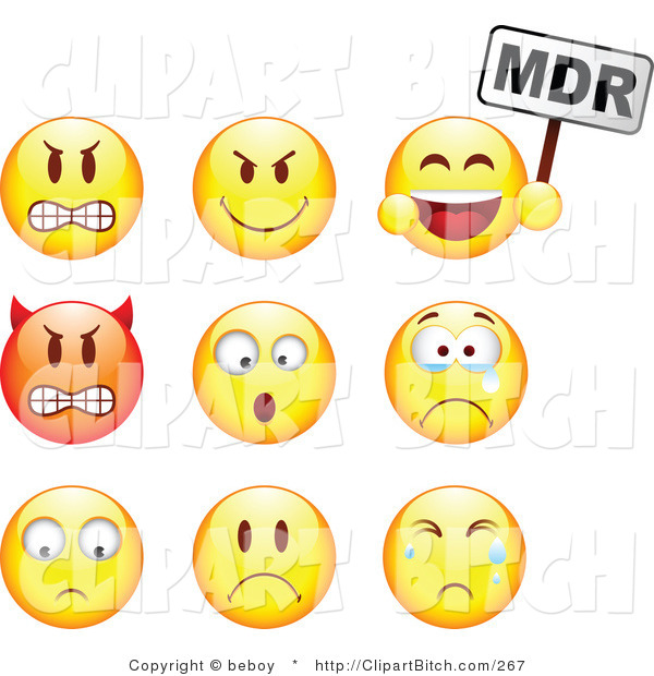 Clip Vector Art of a Group of Nine Mad, Mean, Devil, Scared, Crying and Upset Red and Yellow Emoticon Faces