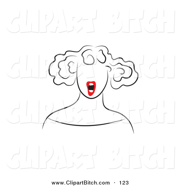 Clip Vector Art of a Line Drawing of a Red Lipped Woman Shouting