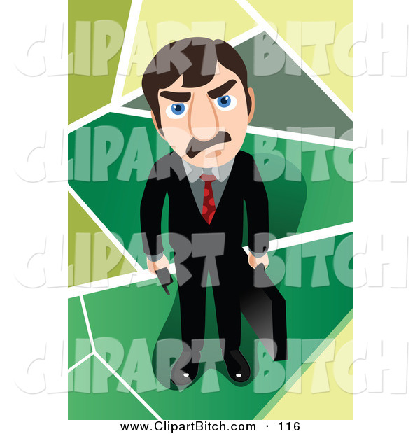 Clip Vector Art of a Mad Caucasian Businessman Holding a Briefcase and Looking up