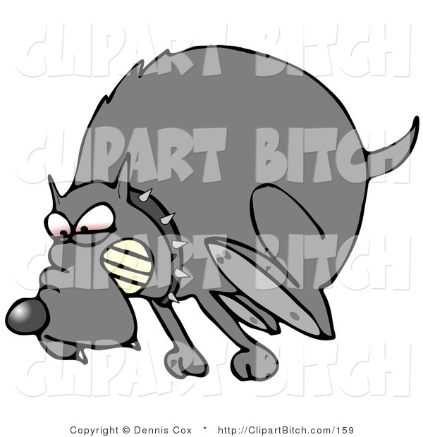 Clip Vector Art of a Mad Gray Dog in the Red Zone, Wearing a Spiked Collar and Chasing an Intruder Away