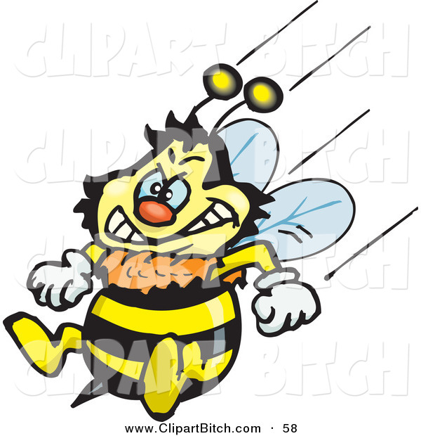 Clip Vector Art of a Mad Honey Bee Character Flying with His Stinger at the Ready