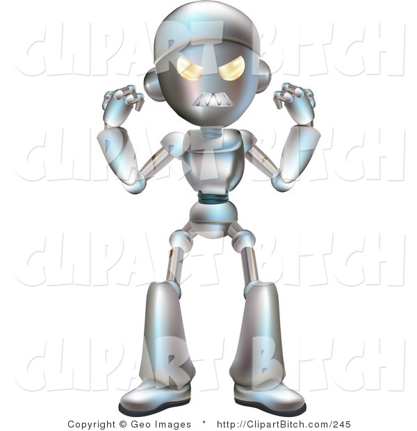 Clip Vector Art of a Mad Metallic Robot Character Waving His Fists