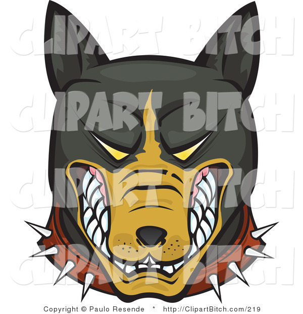 Clip Vector Art of a Mean and Aggressive Growling Brown and Black Pitbull Wearing a Spiked Collar and Bearing His Teeth