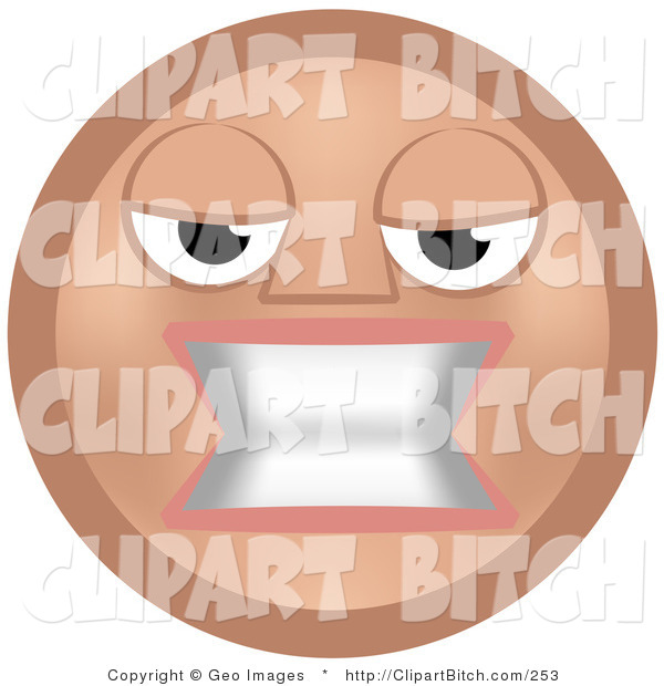 Clip Vector Art of a Mean Beige Smiley Face Woman Baring Her Teeth in Anger