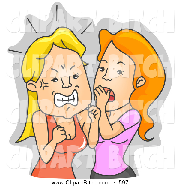 Clip Vector Art of a Pair of Woman Getting Angry over Gossip