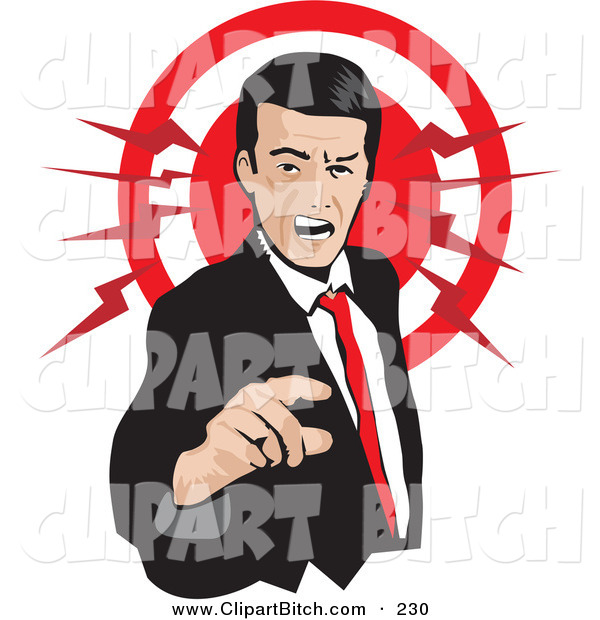 Clip Vector Art of a Pissed Caucasian Businessman Pointing and Yellowing, with a Red Circle