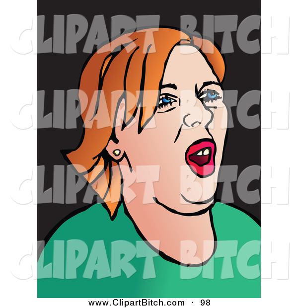 Clip Vector Art of a Pop Art Styled Red Haired Woman with an Attitude on Black
