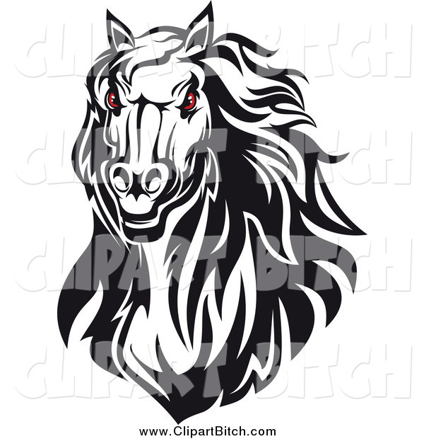 Clip Vector Art of a Red Eyed Black and White Horse Head