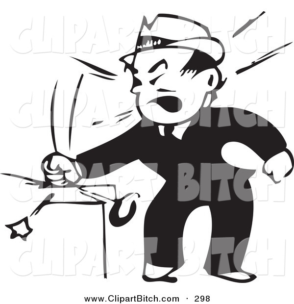 Clip Vector Art of a Retro Black and White Businessman Banging His Fist on the Table