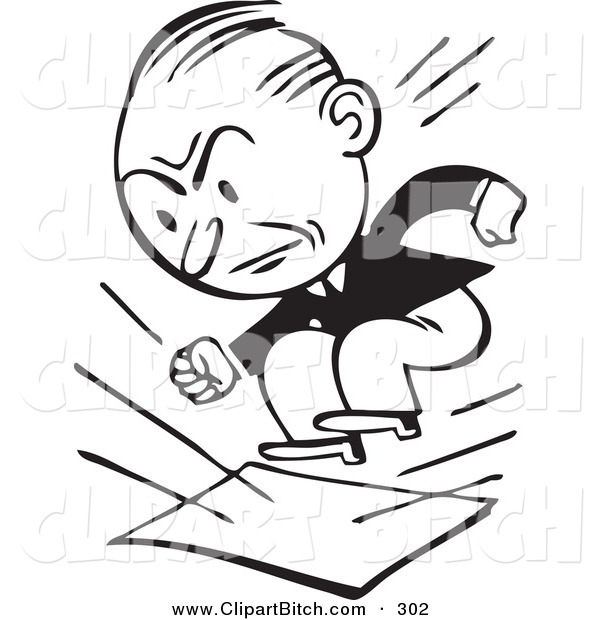 Clip Vector Art of a Retro Black and White Businessman Stomping on Documents on White