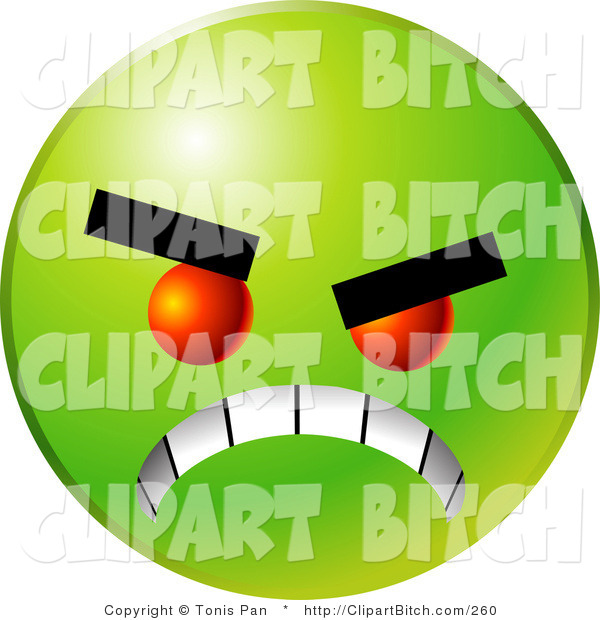 Clip Vector Art of a Scary Green Emoticon Face with Red Eyes, Gritting Its Teeth, Symbolizing Anger and Bullying