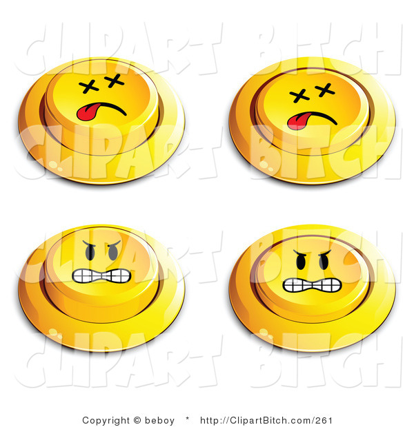 Clip Vector Art of a Set of Four Yellow Push Buttons with Dead and Mad Faces
