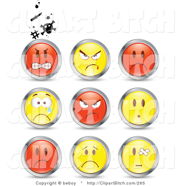 Clip Vector Art of a Set of Nine Mad, Angry, Bully, Crying and Bandaged Red and Yellow Emoticon Faces Circled in Chrome