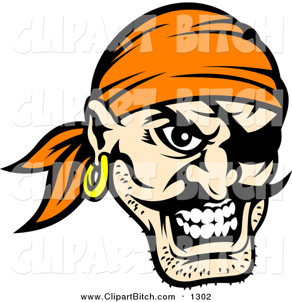 Clip Vector Art of a Tough Pirate Face with an Eye Patch and Orange Bandana